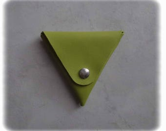 Lime green leather triangle coin purse