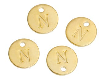 Letter N - Pendant 12mm gold gilt