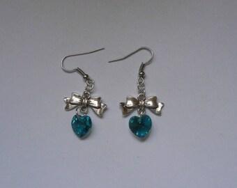 Swarovski blue zircon and silver metal heart earrings