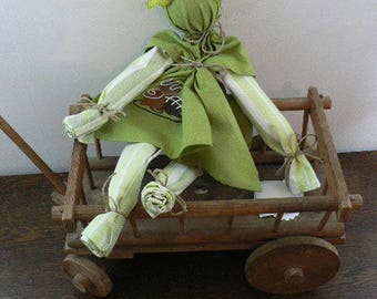 DOLL TOWELS EMBROIDERED CAKES CHOCOLATE TONES GREEN AND WHITE