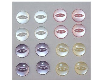 80 x buttons basic 14 mm 2 holes: 4 colors set G - 000807