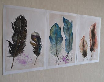 Art triptych drawing in watercolor on paper, home decor, wall decor, feather, handmade, gift ideas
