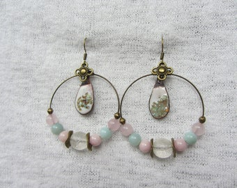 bronze hoops, thin tones pastel pink and turquoise enamel on copper charm