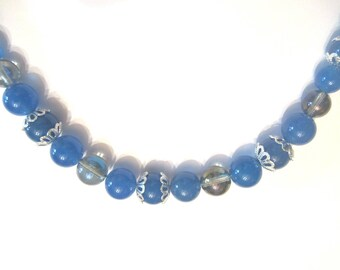 Silver plated, blue agate and rock Crystal Necklace