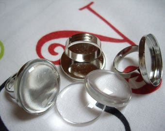 Set of 10 medium ring 25mm silver color tray + glass Cabochon