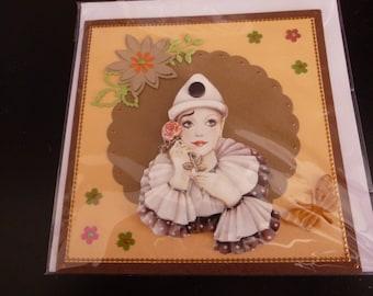 Brown and orange Harlequin card