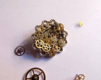 Steampunk gears, bronze and silver brooch