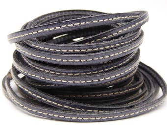 20 cm Strip gray stitching leather 5 mm wide