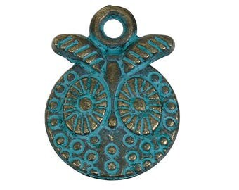 2 pendants ethnic oxidized patina metal 18mm x 14mm