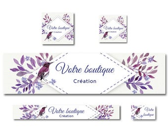 Etsy Shop - creating banner graphic bird watercolor plum and Burgundy