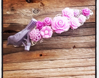 Purple and pink flowers hair clip, wedding, vintage wedding hair accessory