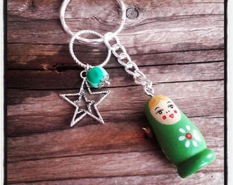 Green Russian doll theme keychain