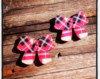 Set of 2 wooden buttons red and black bows