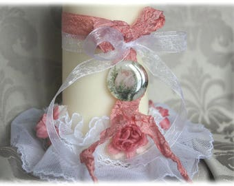 Lace - antique white/pink and ivory decorative candle