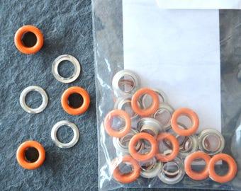 Sachet de 20 OEILLETS métalliques ARGENTES et ORANGE 6mm à poser