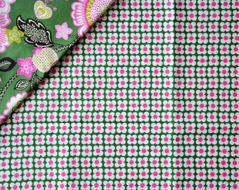 "Cotton fabric pattern ""FLORAL"" - VERA BRADLEY - Green/Pink/White"