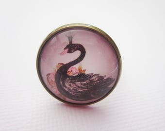 "Ring ""Black Swan"", bronze cabochon, costume jewelry"