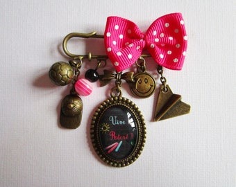 """Vive recess"" brooch, PIN, bronze cabochon, costume jewelry"