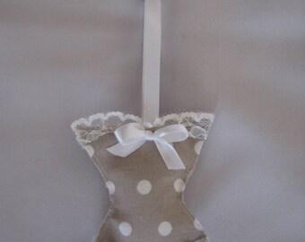 Free shipping! key corset taupe polka dots