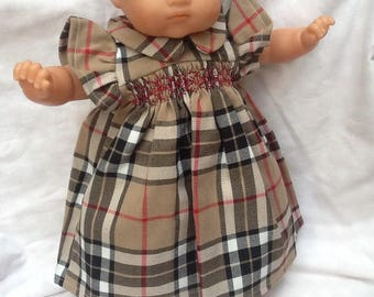 dress has smocked in Brown tartan doll 36 cm
