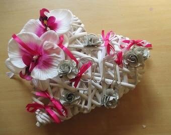 Wedding ring pillow, rattan, gray, fuchsia and white heart