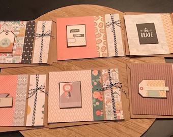 "Set of 6 A2 4.25"" x 5.5"" Blank Notecards Kraft Layered Twine"