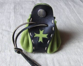 Purse - original leather wallet handmade Green-Black