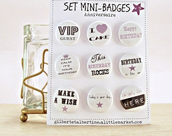 Set of 9 mini badges 25mm /Anniversaire 'Rock '.
