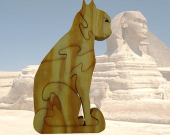 Puzzle Sphinx: wooden cat