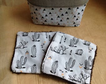 8 wipes / washable cottons + basket graphic cactus