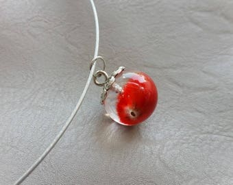 Choker + pendant sphere 1.8 cm kitten red dried flower and resin