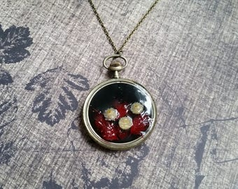 Necklace + genuine watch FOB (5cm), resin and dried flower mini red dried grass and helichrysum
