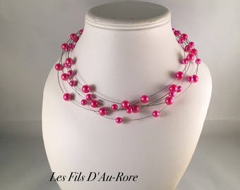Wedding necklace Thomas fuchsia pearl beads