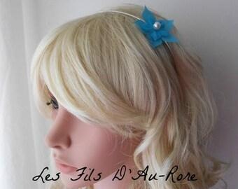 AMELIE turquoise silk flower headband