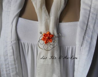Orange satin flower brooch