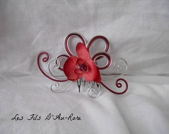 LOLA small Burgundy Orchid bridal hair comb
