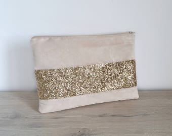 Gold sequined clutch