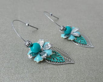Floral spirit blue and Silver earrings