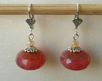 Opal pink Czech glass Pearl Earrings