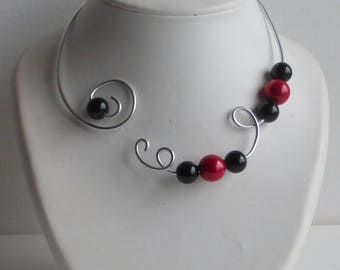 necklace red and black necklace in pearls for parties and weddings