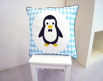 Cushion baby 40 x 40 cm grey and Blue Penguin pattern