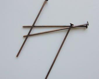 Tige clouté cuivré - 50 pcs - Ref: CL50