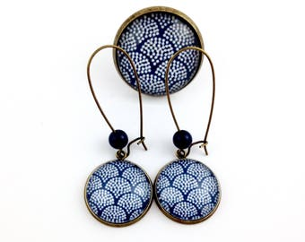 Set bronze - Cabochon blue waves (earrings + large ring)