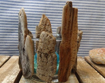 Candle base glass & Driftwood