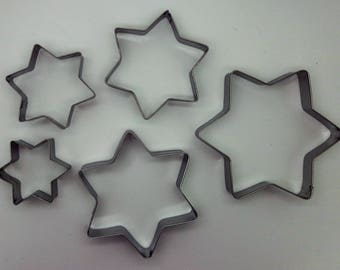 5 cookie cutters star polymer clay in stainless steel