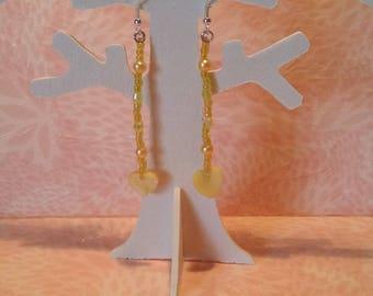 Earrings - yellow Pearl Heart