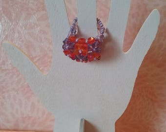Ring - checkerboard coral and purple beads