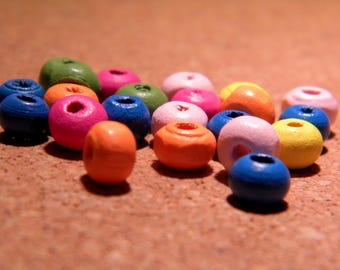 50 wooden beads natural-wood painted multicolored - 6 mm - B62