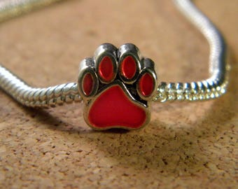 bead charm European - style 11 mm-dog paw pandor@-glazed - red - C36