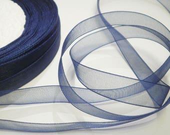 10 m 10 mm Navy Blue organza Ribbon